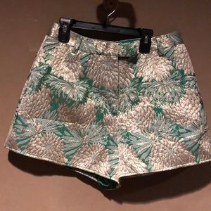 Lovers + Friends green with gold flowers shorts